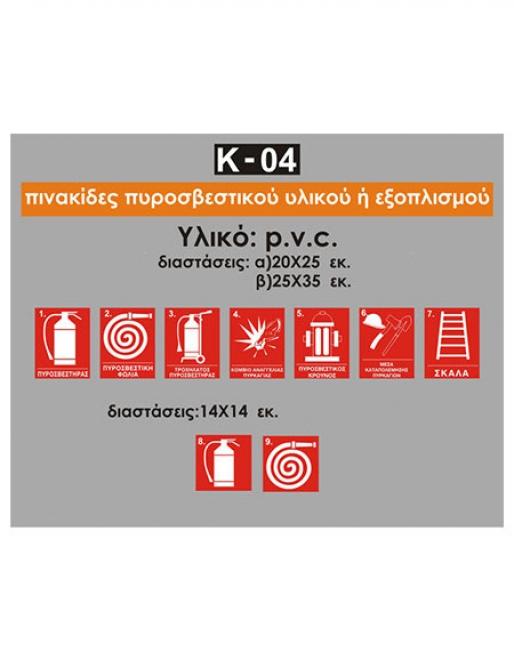 Πινακίδες πυροσβεστικού εξοπλισμού