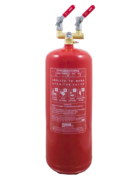 Πυροσβεστήρας 6Kg Ξηράς Σκόνης Τοπ. Εφαρμ. 2 Βάνες