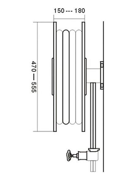 Επιτοίχια Xειροκίνητη Σταθερή Ανέμη με Μανόμετρο και Σωλήνα 3/4″